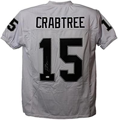 quality design e4345 12b52 Michael Crabtree Autographed/Signed Oakland Raiders XL White ...