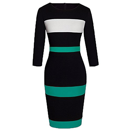 WOOSEA Women's Sleeveless Voguish Colorblock Stripe Cocktail Party Pencil Dress (Large, Cyan Blue 2#)