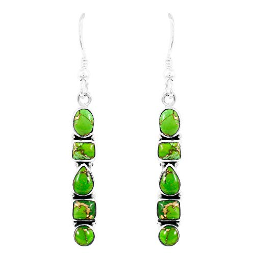 925 Sterling Silver Earrings in Genuine Turquoise & Gemstones (Green Turquoise)