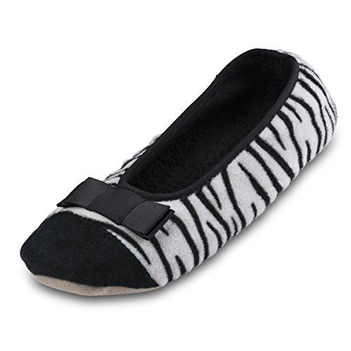 Lining Comfortable Shoes black Terry House Animal Ballerina Print Zebra Slippers Women Cotton Indoor Most w F8qpwZv