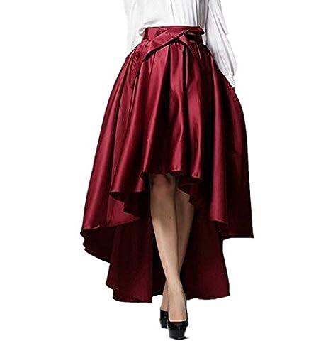 Irisdress Women's Burgundy Bowknot High Waist Hi-lo Party Skater Skirt Burgundy Medium
