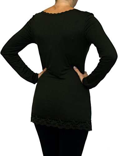 0183 Langarm Shirts für Damen mit Spitze, Viskose, one size , khaki braun.