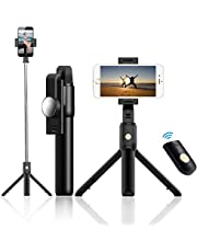 Selfie Stick Tripod, Extendable Bluetooth Selfie Stick with Wireless Remote, Compatible with iPhone 11/11 pro/X/8/8P/7/7P/6s/6, Sumsung Galaxy S9/S8/S7/Note 9/8, Huawei and More iPhone Tripod Stand