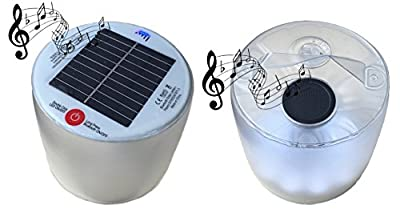 Inflatble Solar Lantern With Solar Bluetooth Speaker_ Waterproof Rechargeable Outdoor Camping Speaker Light Floats on water perfect for Camping Hiking Biking Patio Picnic Fishing Hunting and Emergency from Aria Supplies