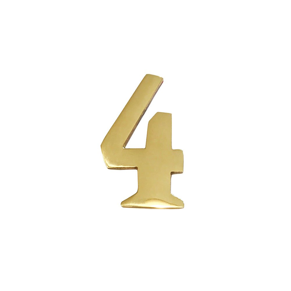Addresses of Distinction 2-Inch Brass Mailbox Number 4 – Self Adhesive Floating #4 – Williamsburg Font – Won't Tarnish – Weather Resistant – Numbering for Address Plaque, Home, Door, Business