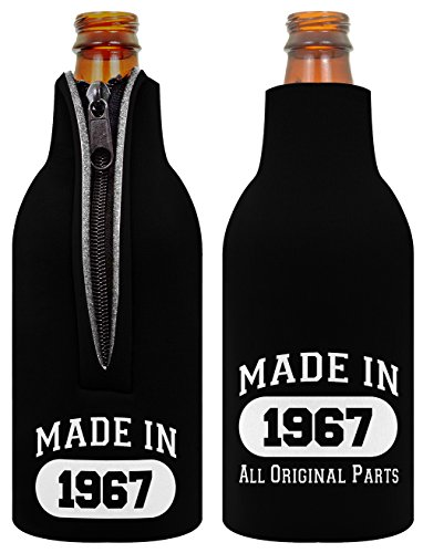 ThisWear 50th Birthday Gift Decoration Beer Bottle Coolie Made 1967 2 Pack Black