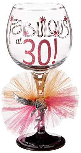 (Mud Pie 119094 Fabulous at 30 Wine Glass)