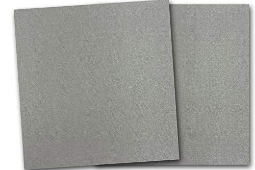 Premium Pearlized Metallic Textured Arrowhead Gray Card Stock 20 Sheets - Matches Martha Stewart ArrowHead - Great for Scrapbooking, Crafts, Flat Cards, DIY Projects, Etc. (12 x 12) ()