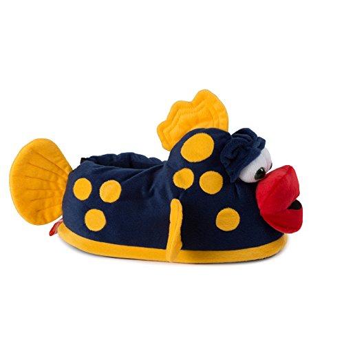 funslippers®, lustige Hausschuhe Tiere Tierhausschuhe Schadstoffgeprüft** Fische Plüsch Hausschuhe mit Gummisohle für Erwachsene und Kinder