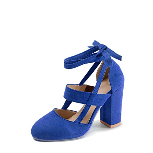 Price comparison product image NeeKer Shoes Ankle Strap High Heels Flock Cross Straps Ladies Thick Heel New Fashion Plus Size Women's Wedding Pumps Blue 10.5