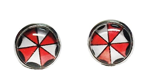 Resident Evil Umbrella Logo Glass Dome Stud Earrings