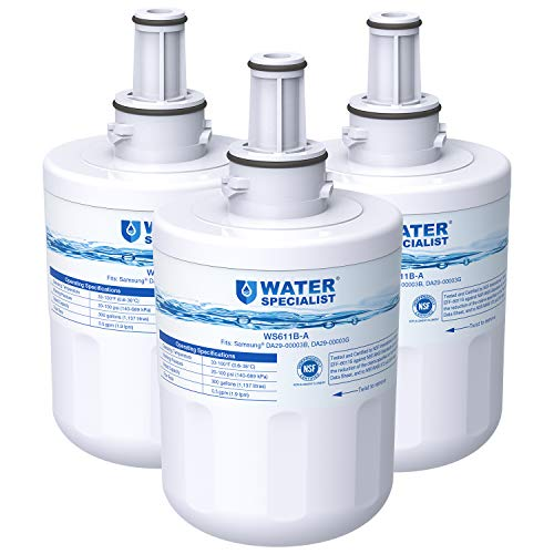Waterspecialist NSF 53&42 Certified DA29-00003G Refrigerator Water Filter, Replacement for Samsung DA29-00003B, RSG257AARS, RFG237AARS, DA29-00003F, HAFCU1, RS22HDHPNSR, WSS-1 (Pack of 3)