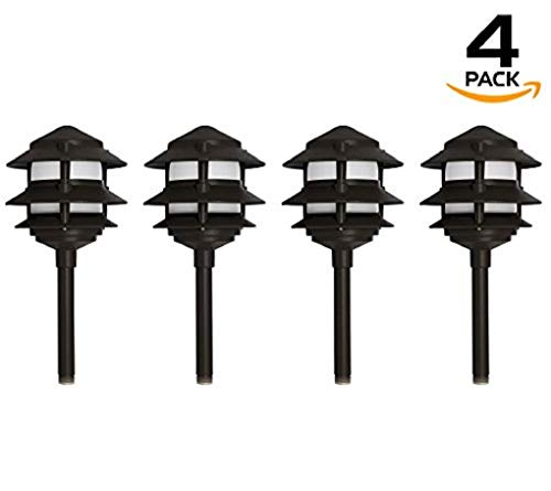 Westgate Lighting LED Area Light-Solid Brass Pagoda Light- Warm White Landscape Lighting-Pagoda Light with Integrated SMD LED Tower-3 Year Unlimited Warranty (4, -