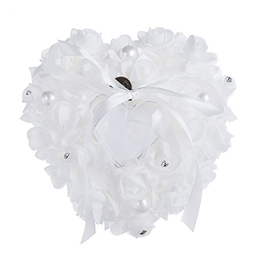 Hanging Rose Bridal Ring Pillow Rhinestone Heart Shaped Gift Ring Box for Wedding Favor Decoration