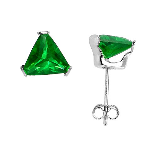 Sterling Silver Cubic Zirconia Triangle Emerald Earrings Studs 7 mm Green Color 2 1/4 carat/pair