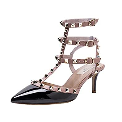Kaitlyn Pan Pointed Toe Studded Strappy Slingback Kitten Heel Leather Pumps Sandals
