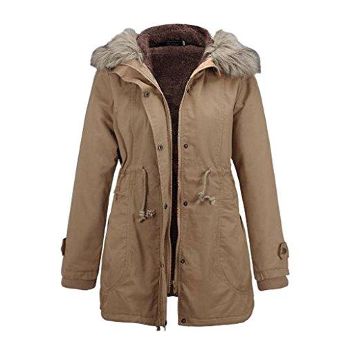 Women Winter Fleece Coat Hooded Faux Fur Trench Coat Jacket Parka - 3