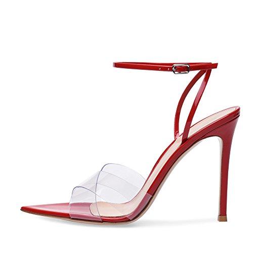 Zapatos de Mujer PU de Cuero sintético Zapatos de Verano de la caída Formal Club Shoes Sandalias de la Comodidad de la Novedad Zapatos para Caminar Tacón de Aguja Peep (Color : Rojo, tamaño : 45)