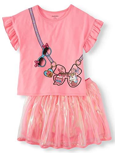 Girls JoJo Siwa Ruffle Shirt and Organza Tutu Skirt 2 Pc Set (X-Large 14-16) Pink]()