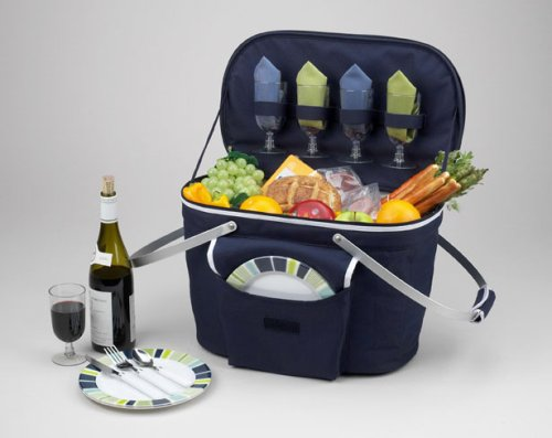 Picnic at Ascot Patented Collapsible Insulated Picnic Basket Equipped with Service For 4- Designed and Assembled in ()