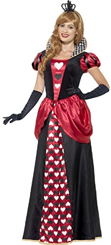 Ladies Longer Length Royal Red Heart Queen Fancy Dress Costume Outfit Carnival Halloween Book Day 8-26 Plus Size (UK 12-14) -