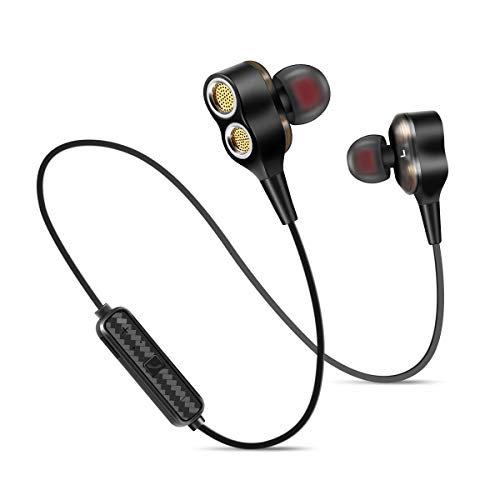 Wireless Earbuds, IPX5 Wireless Headphones Sweatproof Outdoor Sports – Superb Bass Earbuds with Dual Driver for Gym Running and Workout