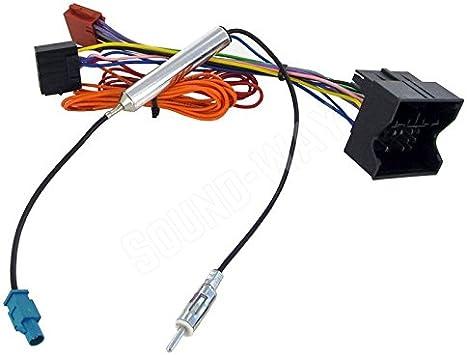 Sound-way Cable Adaptador, Conector ISO para Radio del Coche y Adaptador Antena Fakra Amplificado