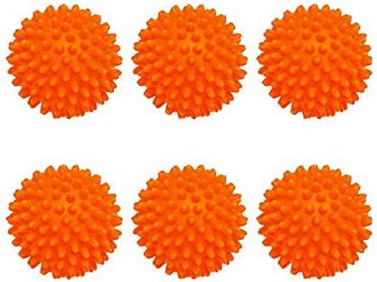 Bolas de Secadora de Lavadora Reutilizables Paquete de 6- Secadoras Ropa No Se Derrite, Ahorra Energía, Fácil de Usar, Una Ropa Más Suave! (Orange)