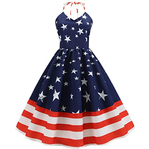 Womens Vintage Sleeveless Halter Neck US Flag Printed Evening Party Dress Blue