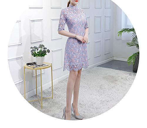 等しい失業修理可能チャイナドレス刺繍エレガントなレースドレス,K06,XXL