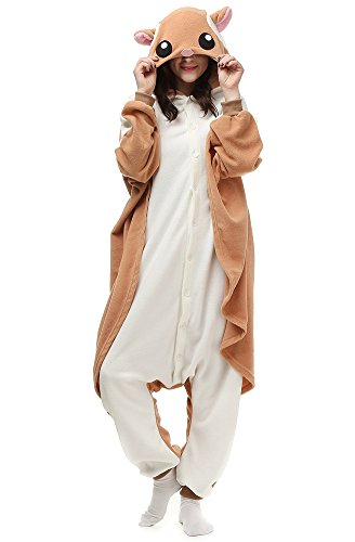 Cousinpjs Animal Onesie Adult Cosplay Costume Onepiece Sleepwear Halloween Pajamas Flying Squirrel S ()