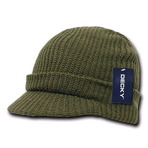 Unisex Visor Knit Beanie Cap Ball Cap Ski Snowboard Hunting Plain Winter Hats (Olive)