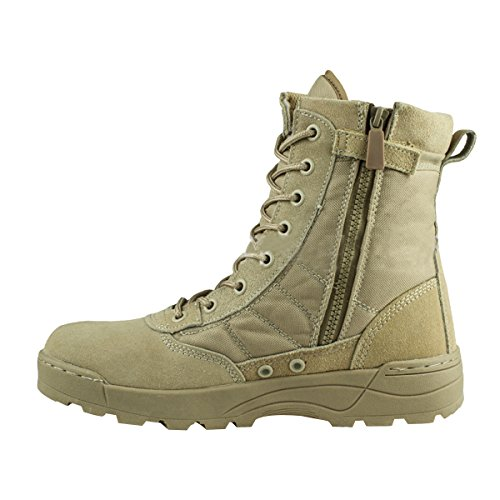 VFDB Men Military Tactical Combat Boots Lace up Desert Boots Side-Zip Outdoor Hiking Boot