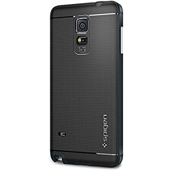 Spigen Neo Hybrid Galaxy Note 4 Case with Flexible Inner TPU and Reinforced Hard Bumper Frame for Samsung Galaxy Note 4 2014 - Metal Slate