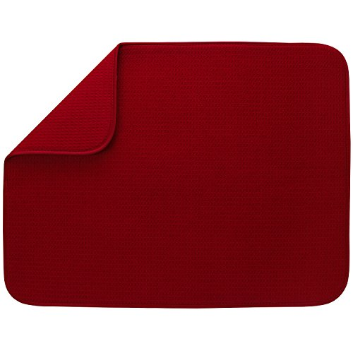 S&T XL Microfiber Dish Drying Mat , 18'' x 24'', Red by STS