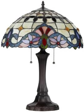 "Chloe Lighting CH33313I16-TL Tiffany-Style Victorian 2-Light Table Lamp, 21.9"" x 16.1"" x 16.1"""
