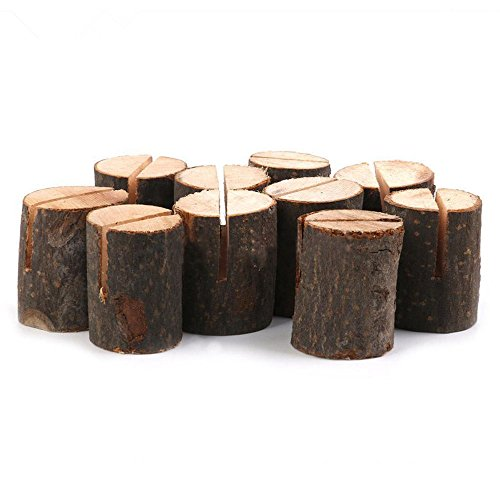 Rustic Wood Table Numbers Holder Wood Place Card Holder Party Wedding Table Name Card Holder Memo Note Card (10 pcs) Photo #2