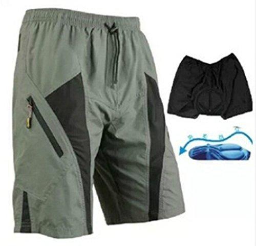 Outdoor Manager Pantalones cortos de hombre para ciclismo de montaña, ajuste holgado, forro CoolMax acolchado, Gris