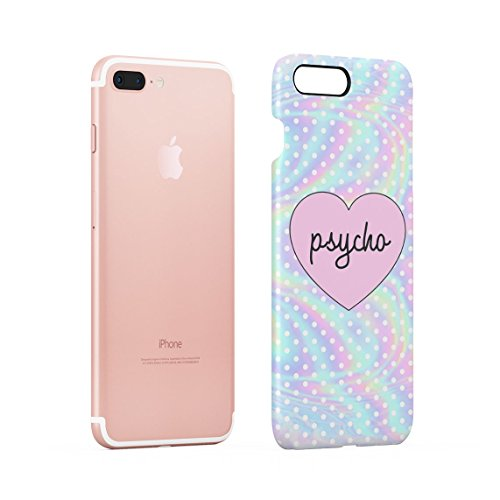Psycho Heart Tye Dye Rainbow Polka Dots Pattern Dünne Rückschale aus Hartplastik für iPhone 7 Plus & iPhone 8 Plus Handy Hülle Schutzhülle Slim Fit Case cover