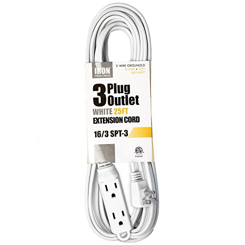 25 Ft White Extension Cord with 3 Electrical Power Outlet - 16/3 Durable White Cable - Lamp Extension Cable