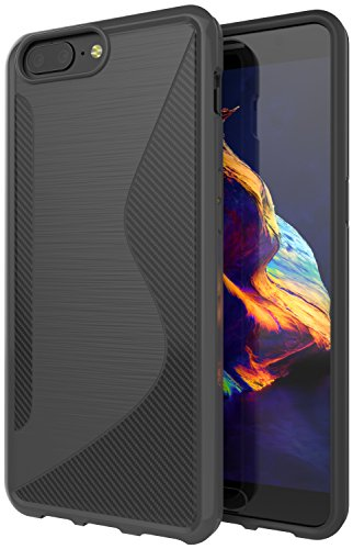 OnePlus 5 Case,SLMY(TM)Ultra [Slim Thin] Carbon Fiber Design Scratch Resistant TPU Rubber Soft Skin Silicone Protective Cases Cover For OnePlus 5-Gray