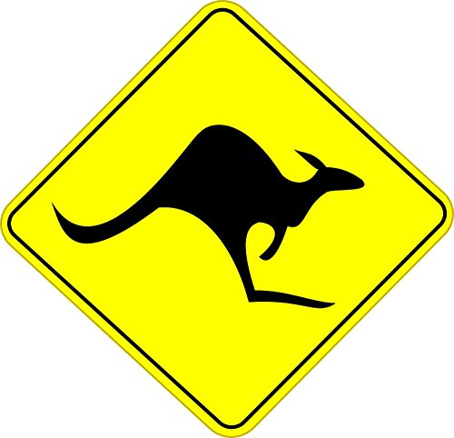 Kangaroo Road Sign (Quality Prints - Laminated 24x24 Vibrant Durable Photo Poster - Kangaroo Australia Road Sign Roadsign Warning Animals)