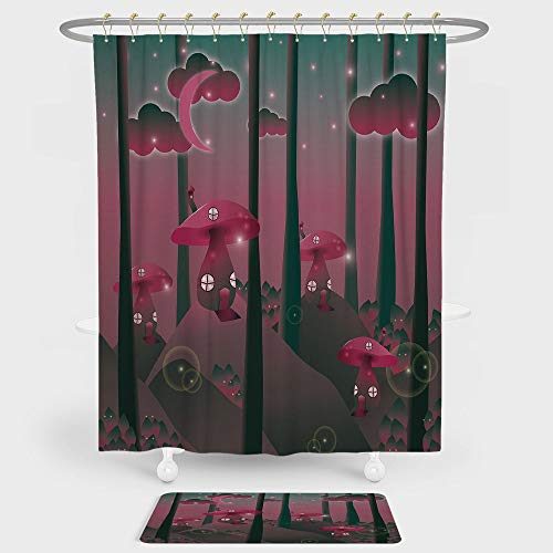 Mushroom Shower Curtain And Floor Mat Combination Set Mystical Magic Landscape Hills Trees Mushroom Houses Crescent Moon Night Sky Decorative For decoration and daily use Jade Green Pink ()