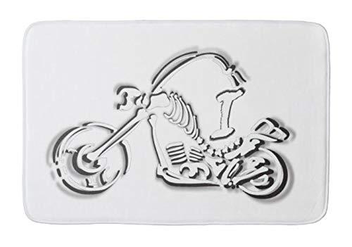 Aomsnet i013 Bling Monogram Bike Skeleton Print Bathroom Decor Mat, Shower Rug Mat Water Absorbent Fast Drying Kitchen, Bedroom, Hotel, Spa Tub. 30