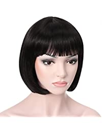"10"" Short Straight Hair Flapper Cosplay Costume Bob Wig (1B - Off Black)"