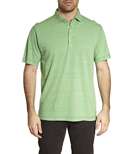 TADD Thaddeus Hal Short Sleeve Slub Cotton Polo T-Shirt In Lawn Green Size (Cotton Lawn Short Sleeve Shirts)