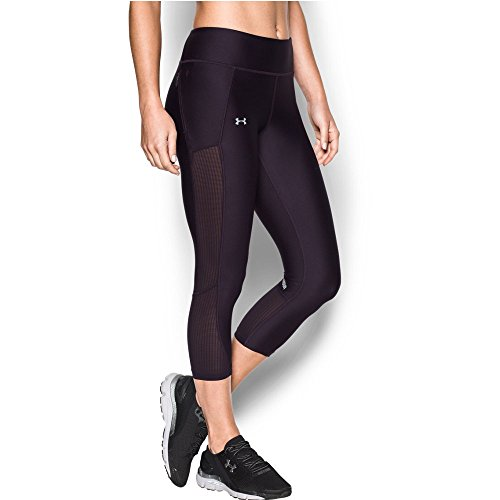 Under Armour Women's Fly-By Mesh Inset Capris, Imperial Purple/Fresh Orchid, X-Large