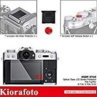 2 Pack Glass Screen Protector for Fuji Fujifilm X-T30 XT30 X-T20 X-T10 X-T100 X-E3 XT20 XT10 XT100 XE3 Camera with Red Convex Camera Shutter Release Button + Hot Shoe Cover Cap