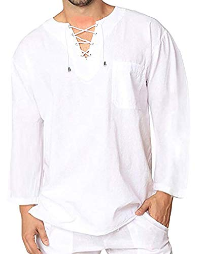 Mens Cotton T Shirt Casual Beach Hippie Yoga Tees Plain Drawstring Long Sleeve Lace Up Tops