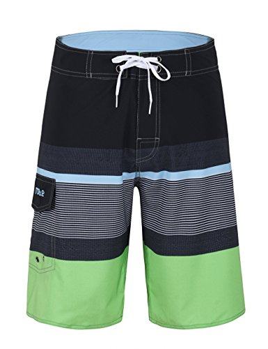 Nonwe Men's Sportwear Quick Dry Board Shorts With Lining Black&Green - Swim Trunks European Men's